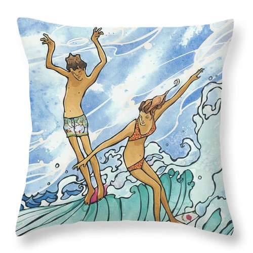 Fine Art Throw Pillow featuring the painting Adam And Eve by Harry Holiday