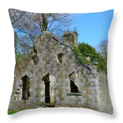 Ruins Throw Pillow featuring the photograph Adare Chapel Ruins by DejaVu Designs