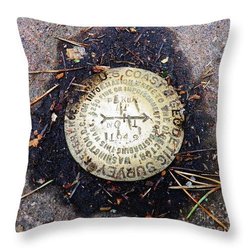 Geodetic Survey Throw Pillow featuring the photograph Adirondack Mountaintop Marker by Judy Via-Wolff