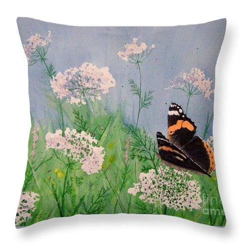 Admiral Throw Pillow featuring the painting Admiral And Lace by Lynn Quinn