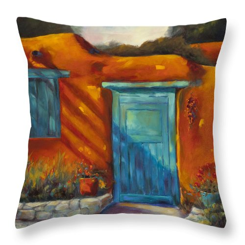 Adobe Throw Pillow featuring the painting Adobe Charm by Chris Brandley