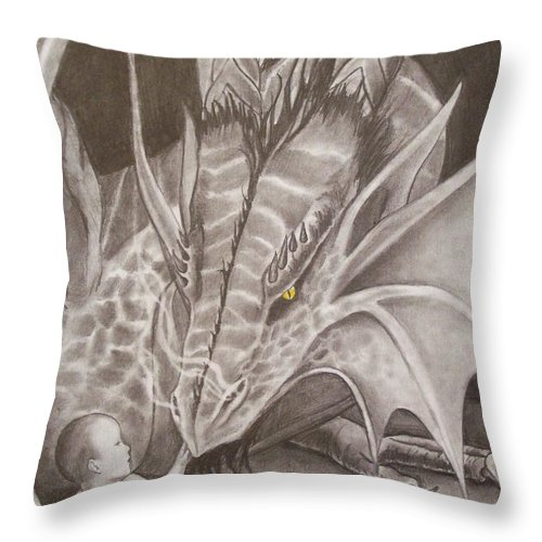 Dragon Throw Pillow featuring the drawing Adoptive Mother by Amber Stanford