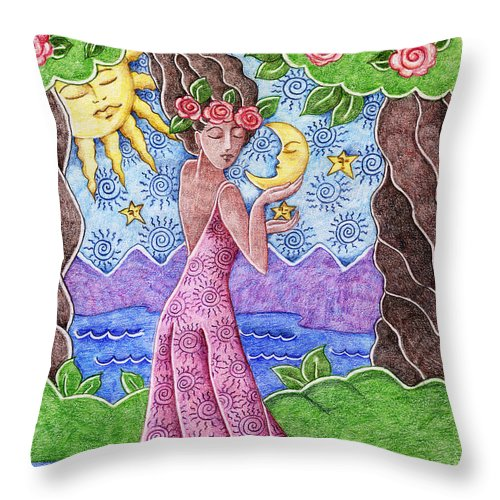 Figurative Throw Pillow featuring the drawing Adorable Moon by Elaine Jackson