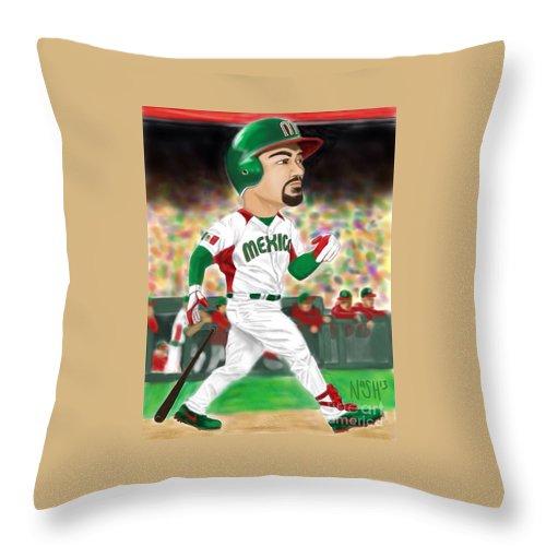 Adrian Gonzalez Throw Pillow featuring the digital art Adrian Gonzalez Team Mexico by Jeremy Nash