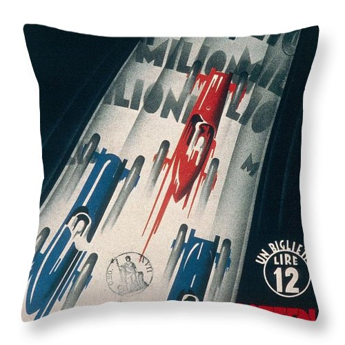 Grand Prix Throw Pillow featuring the drawing Advertisement For Lottery Of Tripoli Grand Prix by Anonymous
