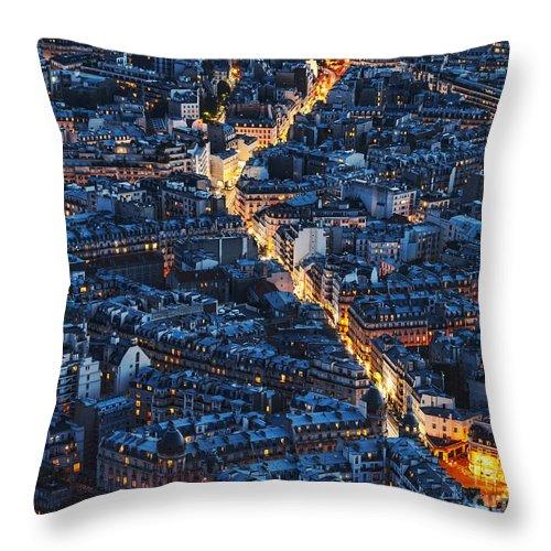 Paris Throw Pillow featuring the photograph Aerial Night View Of Paris by Radu Razvan