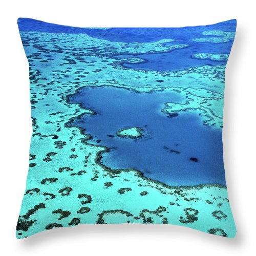 Seascape Throw Pillow featuring the photograph Aerial Of Heart-shaped Reef At Hardy by Holger Leue