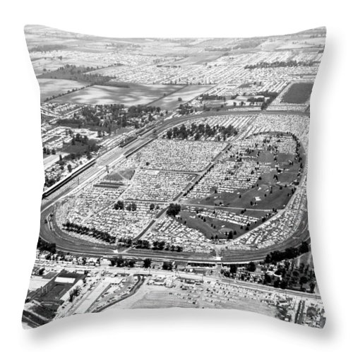 1950's Throw Pillow featuring the photograph Aerial Of Indy 500 by Underwood Archives