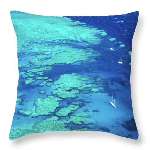 Sailboat Throw Pillow featuring the photograph Aerial Of Sailboats At Hardy Reef, Near by Holger Leue