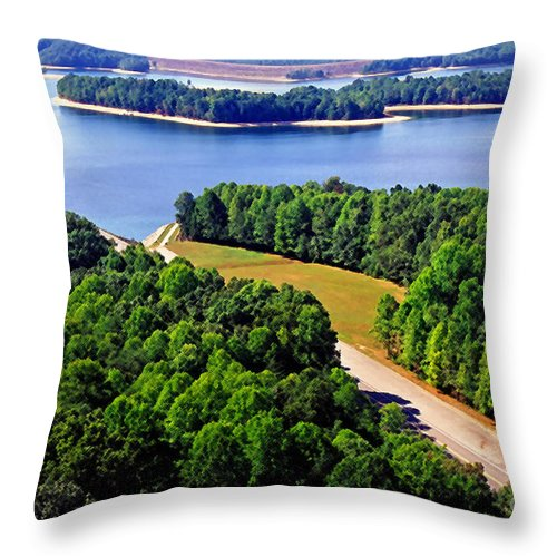 Usa Throw Pillow featuring the photograph Aerial Summersville Dam And Lake by Thomas R Fletcher