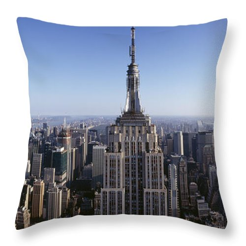 Photography Throw Pillow featuring the photograph Aerial View Of A Cityscape, Empire by Panoramic Images