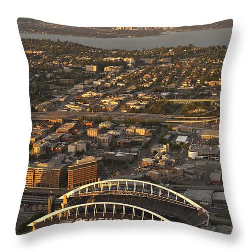 Bellevue Throw Pillow featuring the photograph Aerial View Of Bellevue Skyline And Century Link by Jim Corwin