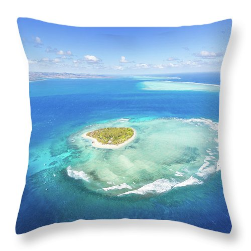 Tranquility Throw Pillow featuring the photograph Aerial View Of Heart Shaped Island by Matteo Colombo
