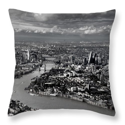 London Throw Pillow featuring the photograph Aerial View Of London 4 by Mark Rogan