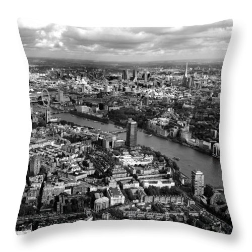 London Throw Pillow featuring the photograph Aerial View Of London by Mark Rogan