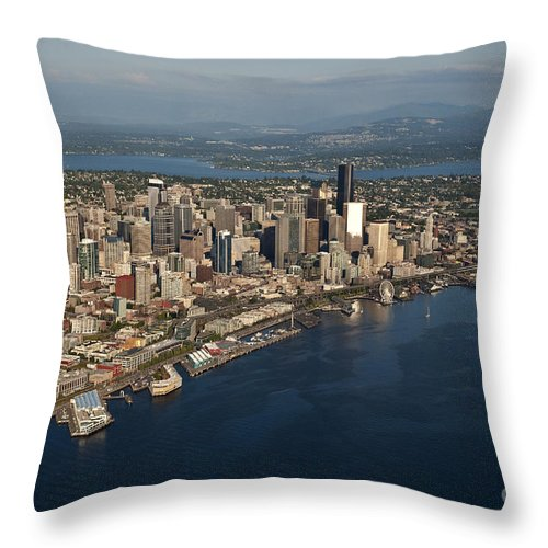 Elliott Bay Throw Pillow featuring the photograph Aerial View Of Seattle Skyline With Elliott Bay And Ferry Boat by Jim Corwin