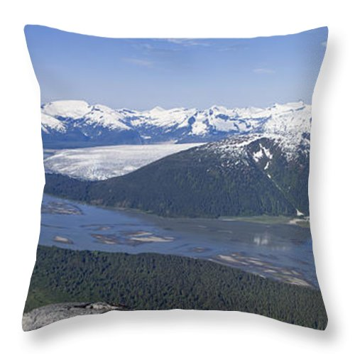 Daytime Throw Pillow featuring the photograph Aerial View Of Taku River, Taku Glacier by John Hyde
