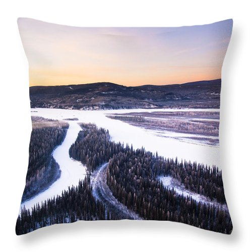 Winter Throw Pillow featuring the photograph Aerial View Of The Tanana River Valley by Kevin Smith