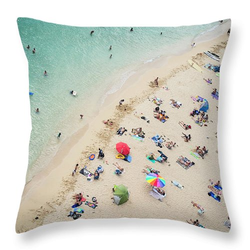 Honolulu Throw Pillow featuring the photograph Aerial View Of Tourists On Beach by Alberto Guglielmi