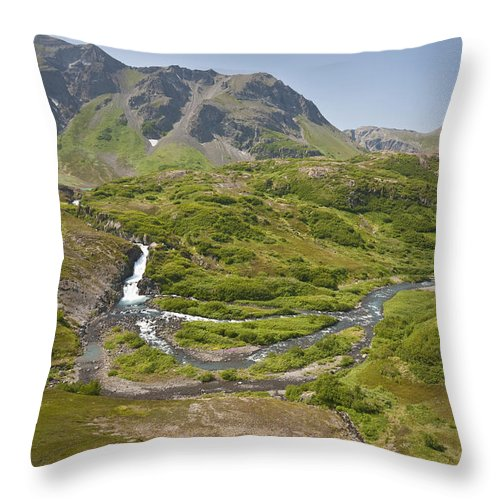Daytime Throw Pillow featuring the photograph Aerial View Of Waterfall And River In by Jeff Schultz