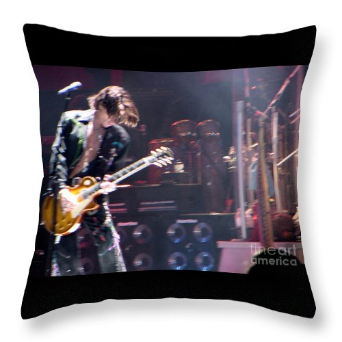 Aerosmith Throw Pillow featuring the photograph Aerosmith - Joe Perry - Dsc00052 by Gary Gingrich Galleries