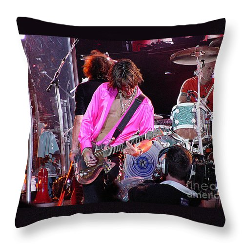 Aerosmith Throw Pillow featuring the photograph Aerosmith - Joe Perry -dsc00121 by Gary Gingrich Galleries