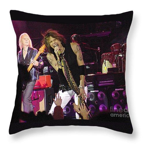 Aerosmith Throw Pillow featuring the photograph Aerosmith - Steven Tyler - Dsc00072 by Gary Gingrich Galleries