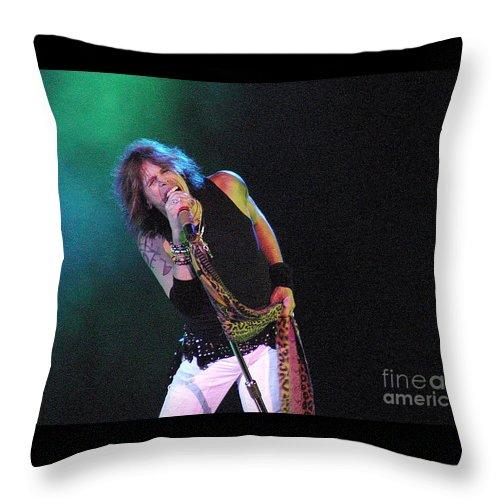 Aerosmith Throw Pillow featuring the photograph Aerosmith - Steven Tyler -dsc00139-1 by Gary Gingrich Galleries