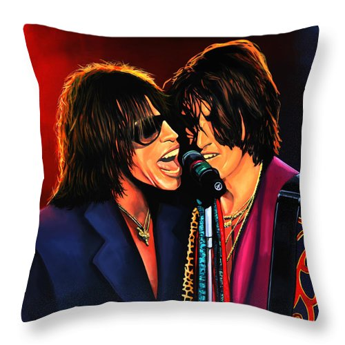 Steven Tyler Throw Pillow featuring the painting Aerosmith Toxic Twins Painting by Paul Meijering