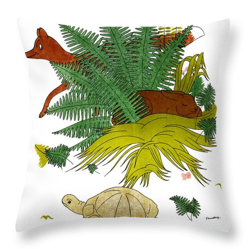 Aesop Throw Pillow featuring the photograph Aesop: Tortoise & The Hare by Granger