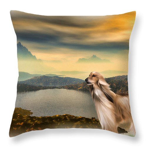 Landscape Throw Pillow featuring the painting Afghan Hound by Tyler Robbins