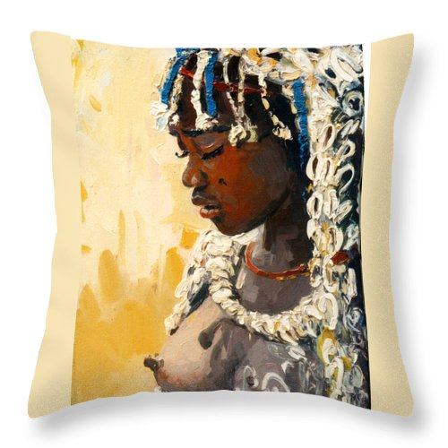 Portrait Throw Pillow featuring the painting Africa 2 by Sefedin Stafa