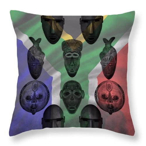 African Tribal Masks Throw Pillow featuring the photograph Africa Flag And Tribal Masks by Dan Sproul
