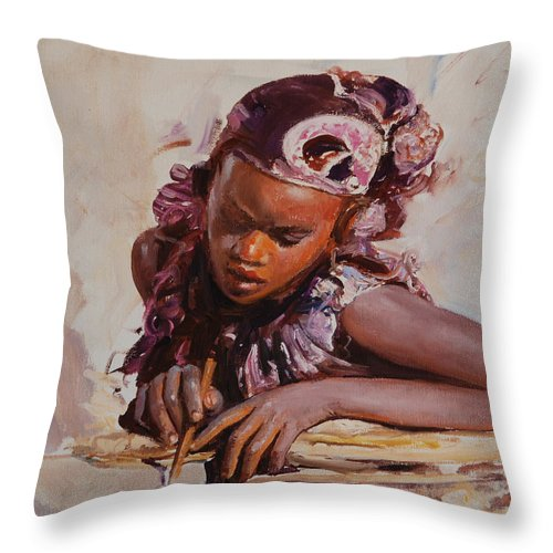 Portrait Throw Pillow featuring the painting Africa by Sefedin Stafa
