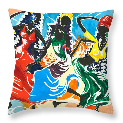Canvas Prints Throw Pillow featuring the painting African Dancers No. 2 by Elisabeta Hermann