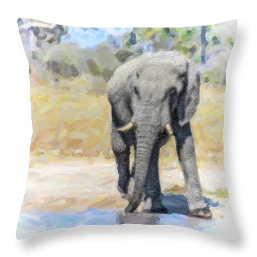 African Elephant Throw Pillow featuring the digital art African Elephant At Waterhole by Liz Leyden