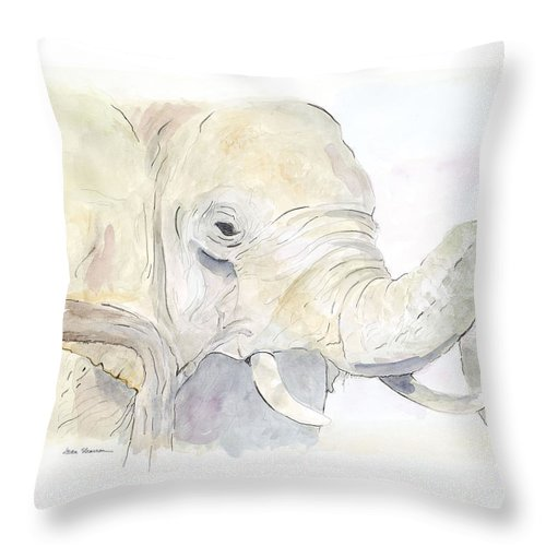Elephant Throw Pillow featuring the painting African Elephant by Joan Sharron