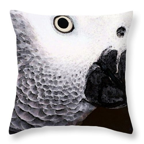 African Grey Throw Pillow featuring the painting African Gray Parrot Art - Seeing Is Believing by Sharon Cummings