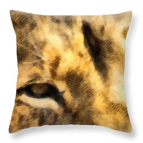 Lion Throw Pillow featuring the mixed media African Lion Eyes by Angelina Vick