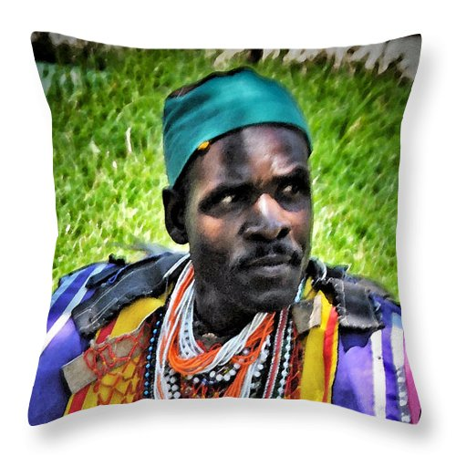 African Throw Pillow featuring the photograph African Look by Jost Houk