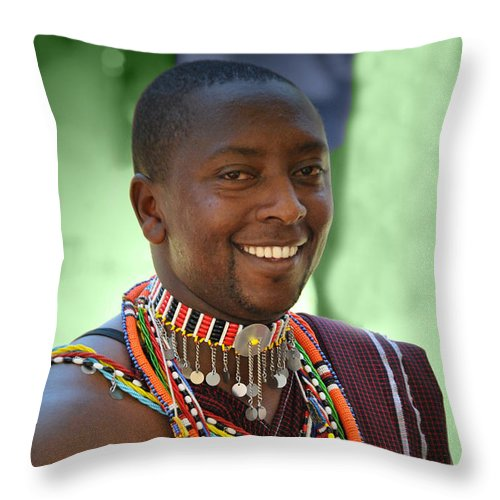 African Throw Pillow featuring the photograph African Smile by Jost Houk