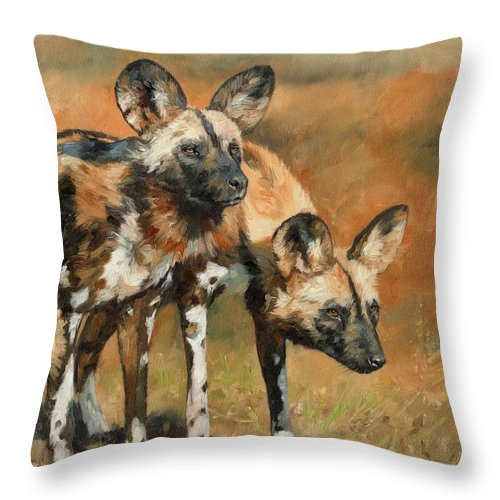 Wild Dogs Throw Pillow featuring the painting African Wild Dogs by David Stribbling