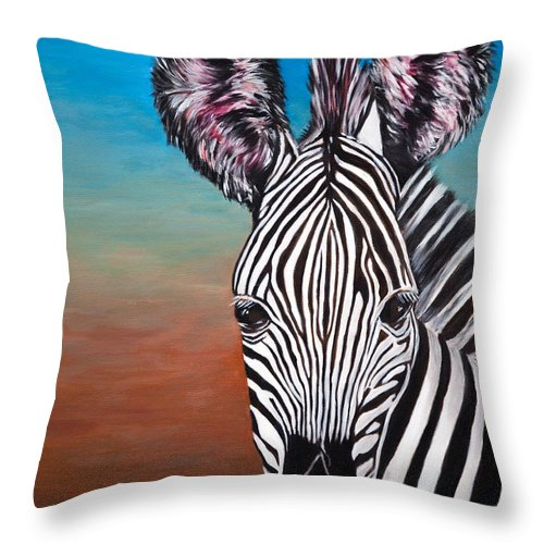 Zebra Throw Pillow featuring the painting African Zebra by Donna Proctor