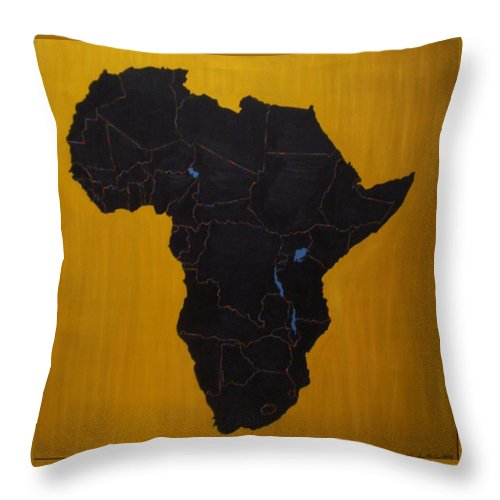 Africa Throw Pillow featuring the painting Afrika by Leslye Miller