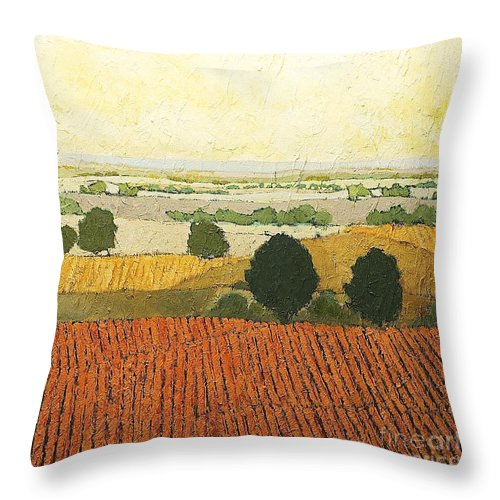 Landscape Throw Pillow featuring the painting After Harvest by Allan P Friedlander