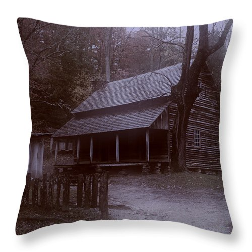 Log Cabin Throw Pillow featuring the digital art After Midnight by TnBackroadsPhotos