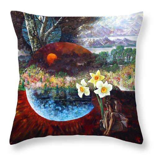 Jesus Christ Throw Pillow featuring the painting After The Death Of Christ by John Lautermilch