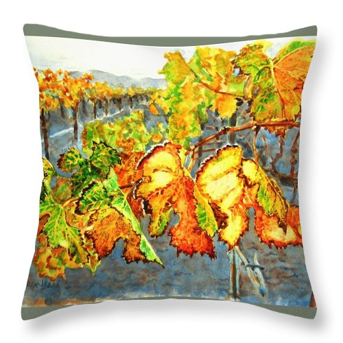 Vineyard Throw Pillow featuring the painting After The Harvest by Karen Ilari
