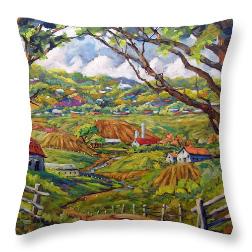Rural City Scape Throw Pillow featuring the painting After The Rain By Prankearts by Richard T Pranke
