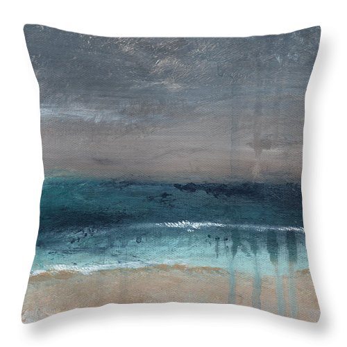 Abstract Landscape Throw Pillow featuring the painting After The Storm- Abstract Beach Landscape by Linda Woods